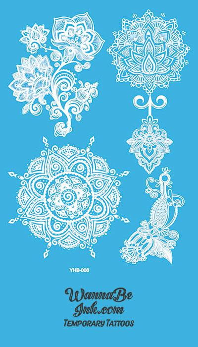 Flower Pattern Mandala Hennah Style White Temporary Tattoo Sheet