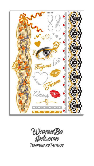 """Forever"" Eye Heart Lips Key Infinity Sign and Wrist Band Metallic Temporary Tattoos"