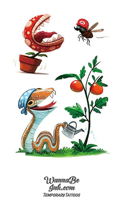 Garden Snake and Hungry Plant Best Temporary Tattoos