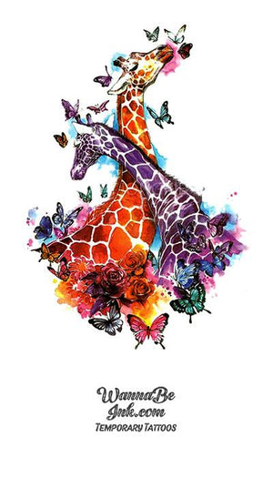 Giraffes and Butterflies Best Temporary Tattoos