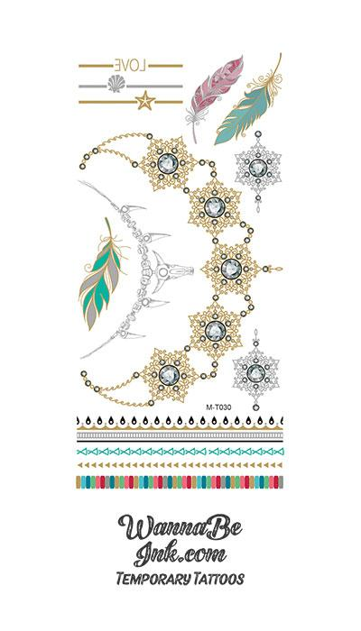 Gold and Black Mandala Necklace with Colorful Feathers Metallic Temporary tattoos