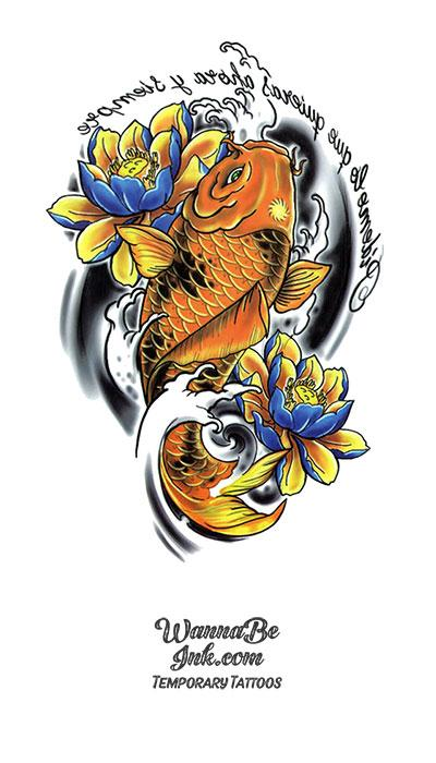 Golden Koi Fish Best temporary Tattoos