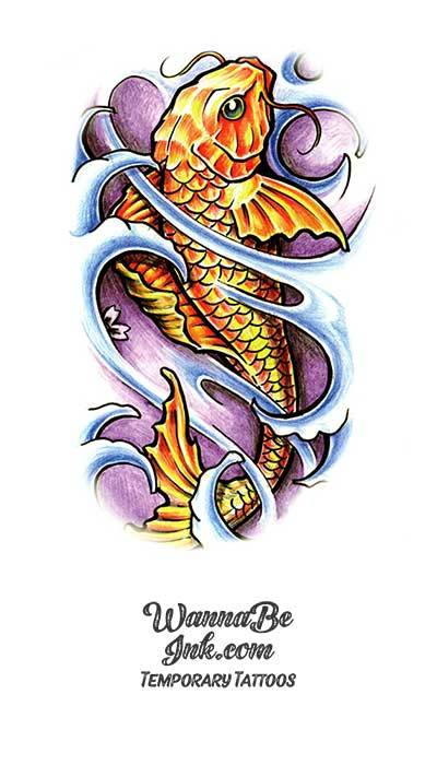 Golden Koi In Waves Best Temporary Tattoos