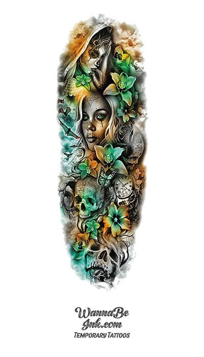 Goth Women Sugar Skull Bats Clock Flowers Temporary Sleeve Tattoos