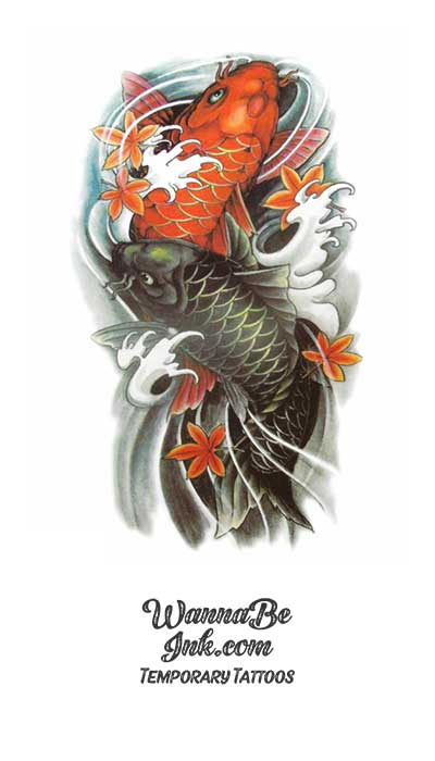Green And Orange Koi Fish Best Temporary Tattoos