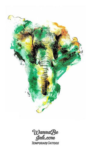 Green And Yellow Watercolor Elephant Best Temporary Tattoos