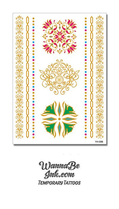Green Flower Pink Flower Gold Crest and Bands Metallic Temporary Tattoos