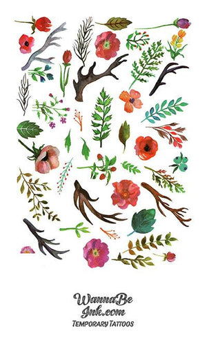Green Leaves Red Flowers and Antlers Best Temporary Tattoos