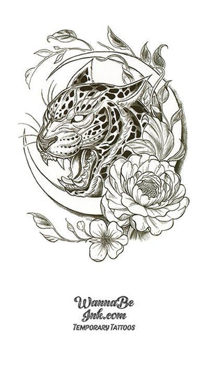 Howling Jaguar in Crescent Moon with Roses Best Temporary Tattoos
