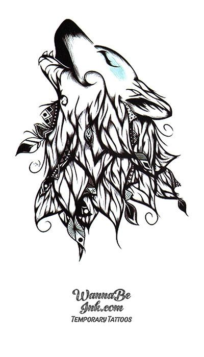 Howling Wolf in Leaves design Best Temporary Tattoos