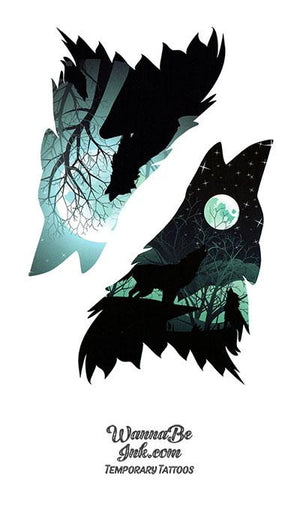 Howling Wolf in Winter Moon Best Temporary tattoos