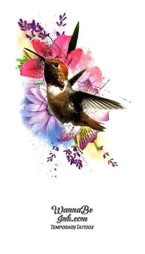 Hummingbird and Flowers Best Temporary Tattoos