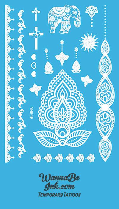 Indian Elephant Cross Heart Flower Hennah Style White Temporary Tattoo Sheet