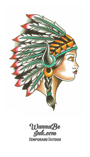 Indian Woman In Headdress with Buffalo Horns Best Temporary Tattoos