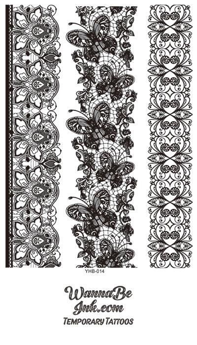 Intricate Flower Butterfly Lace Black Henna Style Black Temporary Tattoo Sheet