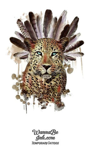 Jaguar With Feather Headdress Best Temporary Tattoos