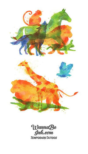 Jungle Animals in Water Color Best Temporary Tattoos