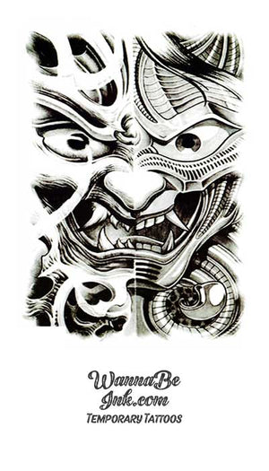 Kabuki Dragon Face Best Temporary Tattoos
