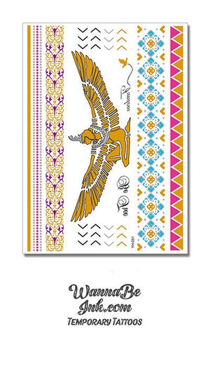 Large Winged Egyptian Goddess in Gold with Purple Blue and Pink Metallic Temporary Tattoos