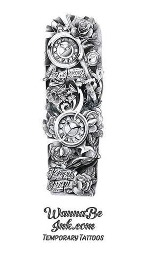 """Lest We Forget. Tempus Fugit"" Roses Kar98 War Medal Clock Stop Watch Temporary Sleeve Tattoos"