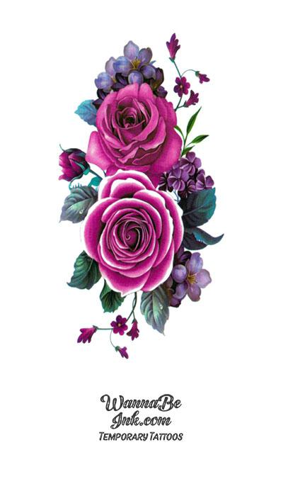 Light and Dark Purple Roses Blossoms Flower Temporary Tattoos