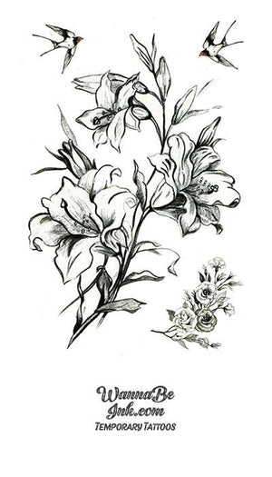 Lillies and Swallows Sketch Best Temporary Tattoos