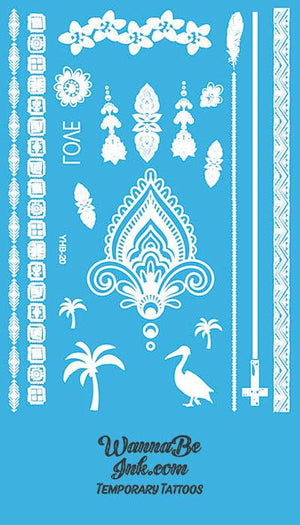 Love Stork Feather Palm Tree Tribal Cross Hennah Style White Temporary Tattoo Sheet