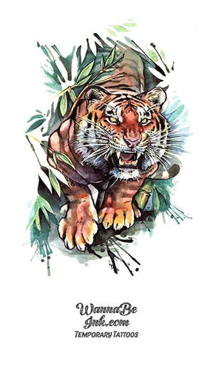 Lunging Tiger in Bamboo Leaves Best Temporary Tattoos