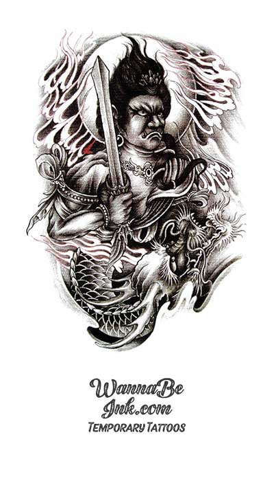 Moon Behind Mongol Warrior Holding Sword with Dragon Best Temporary Tattoos