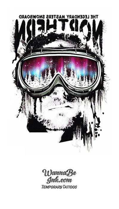 """Northern"" Explorer In Ski Goggles Best Temporary Tattoos"