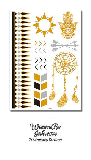 Onyx Bracelet Band with Gold Sun Hamsa and Dream Catcher Metallic Temporary Tattoos