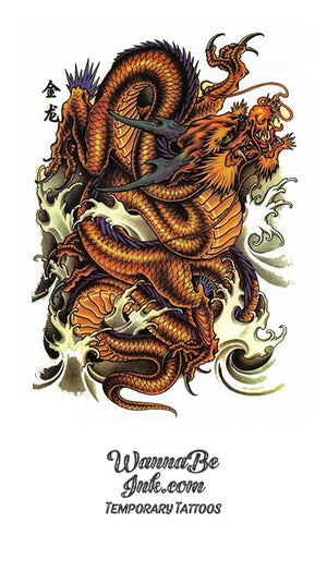 Orange Brown Dragon Knot Best Temporary tattoos