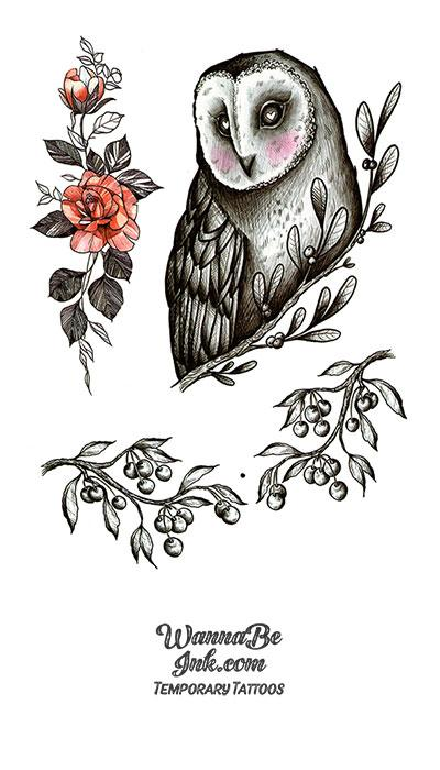 Owl and Red Rose Best Temporary Tattoos