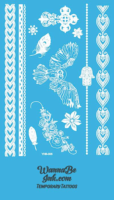 Owl Feather Rose Pattern Henna Style White Temporary Tattoo Sheet