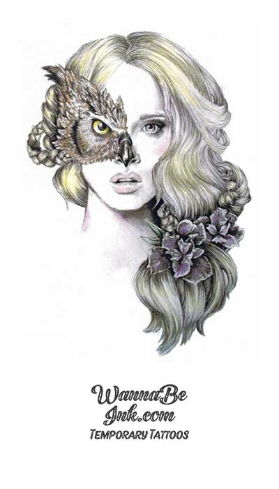 Owl Masked Woman Best Temporary Tattoos