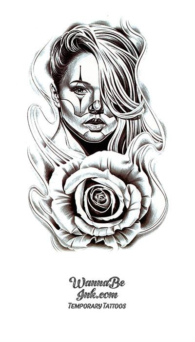 Painted Woman And Rose Best Temporary Tattoos