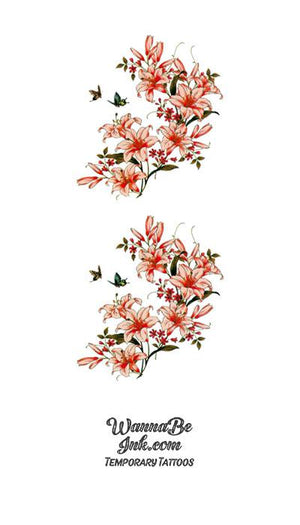 Peach Colored Cherry Blossoms and Birds Flower Temporary Tattoos