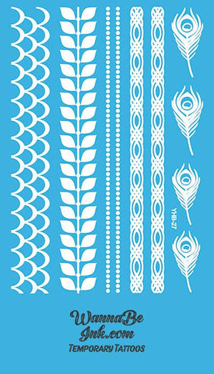 Peacock Feather Interwoven Pattern Henna Style White Temporary Tattoo Sheet