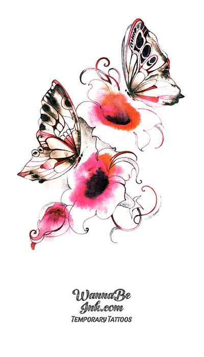 Pink and White Flowers and Butterflies Best Temporary Tattoos