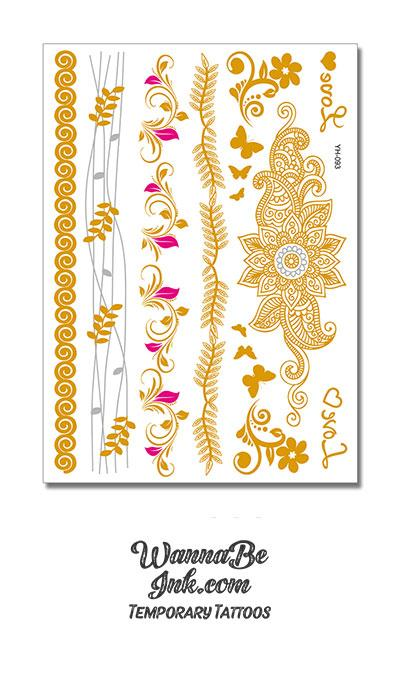 Pink Flowers with Gold Leaves and Butterflies Metallic Temporary Tattoos