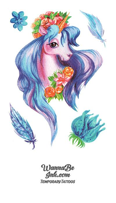 Pink Horse With Blue Flowers Best Temporary tattoos