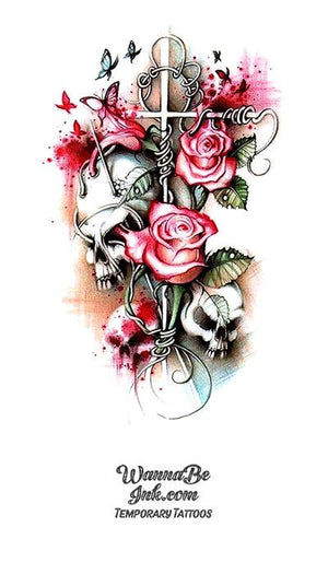 Pink Roses and Skulls with Cross Best Temporary Tattoos