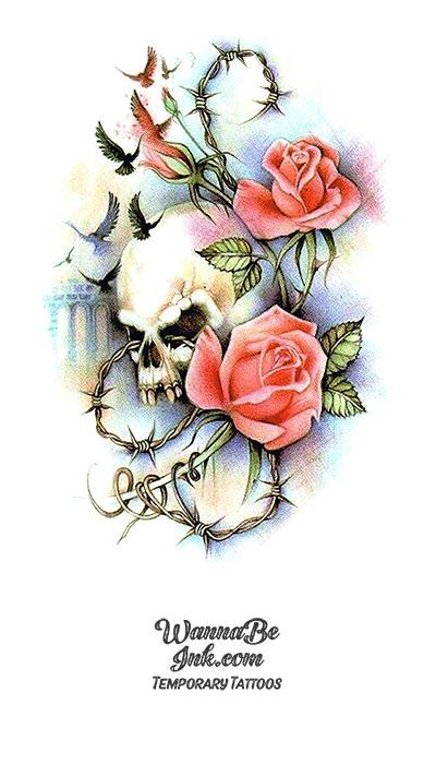 Pink Roses Flying Ravens and Skull Best Temporary tattoos