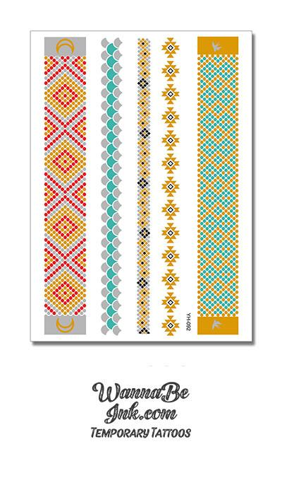 Pueblo Pattern in Green and Gold and Pink Metallic Temporary Tattoos