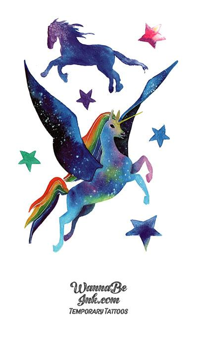 Purple Flying Horse and Stars Best Temporary Tattoos