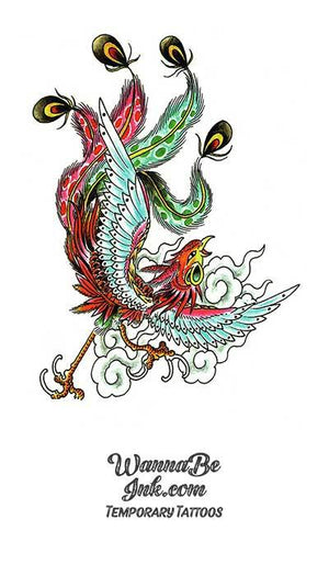 Red and Green Phoenix Bird Temporary Tattoos