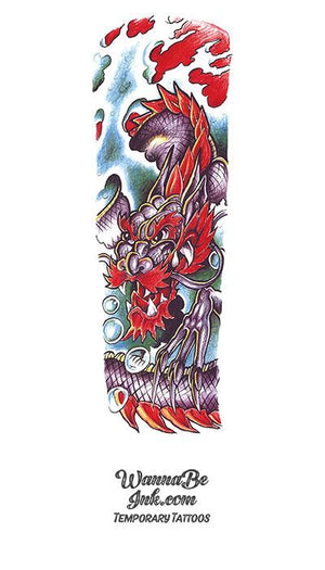 Red And Purple Asian Dragon In Clouds Temporary Sleeve Tattoos