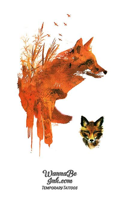 Red Fox In Wheat Field Best Temporary Tattoos