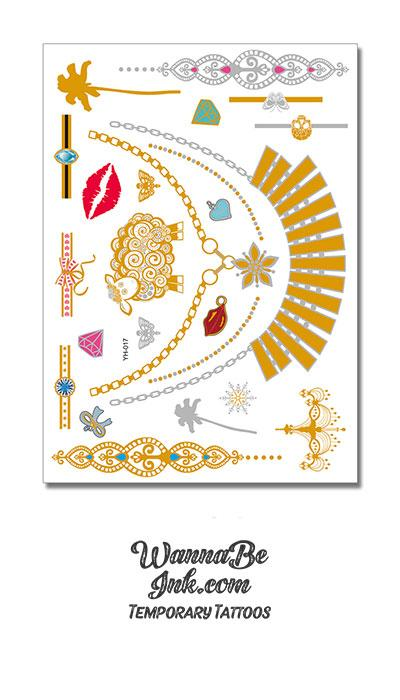 Red Lips Gold Lamb Gold Fan and Star Necklace and Palm Trees Metallic Temporary Tattoos