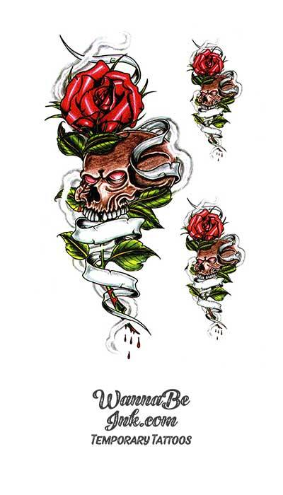 Red Rose Stems Growing Skulls Best Temporary Tattoos